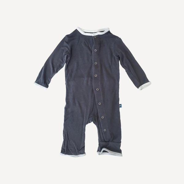 Kickee Pants Romper 0-3m / Preloved Re-Cycle Solid Grey Romper