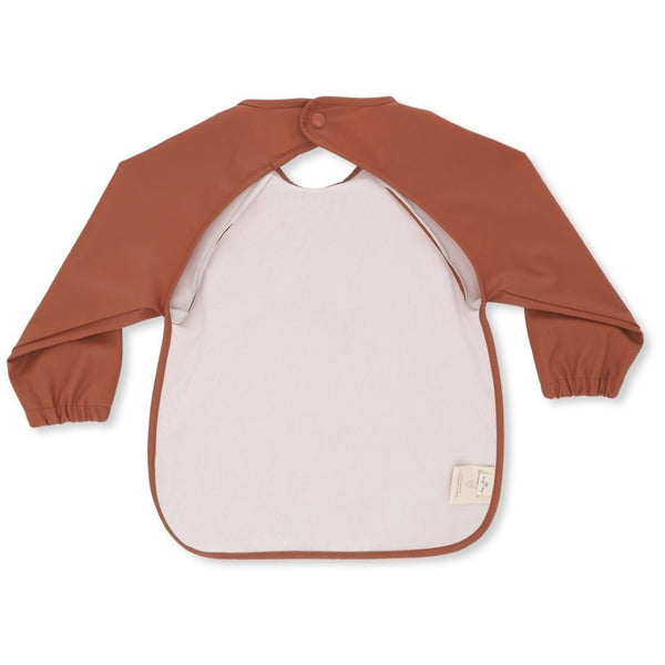 Konges Sloejd Bibs Dinner Bib Long Sleeve - Toffee/Mini Dots Teal