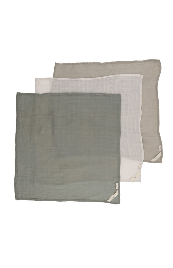 Konges Sloejd Blanket 3 Pack Muslin Cloths - Lime Stone