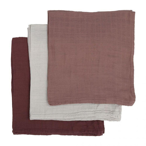 Konges Sloejd Blanket One Size 10 Pack Muslin Cloths - Mauve/Grey/Blush