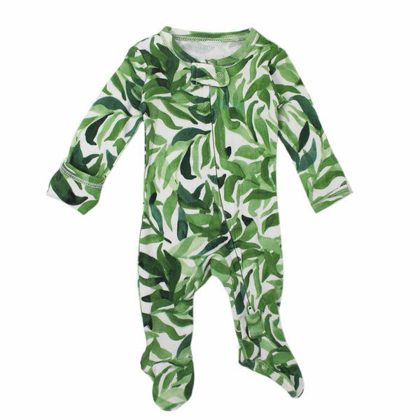 L'ovedbaby Footed Organic Zipper Baby Footie - Kelp