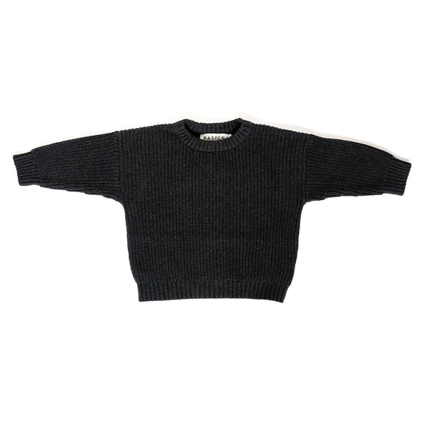 Les Petites Natures Sweater Knit Cotton Sweater - Charcoal