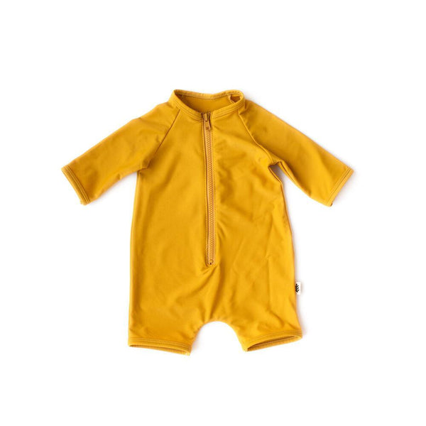 Les Petites Natures Swimwear Rashguard One Piece Swimsuit - Mustard