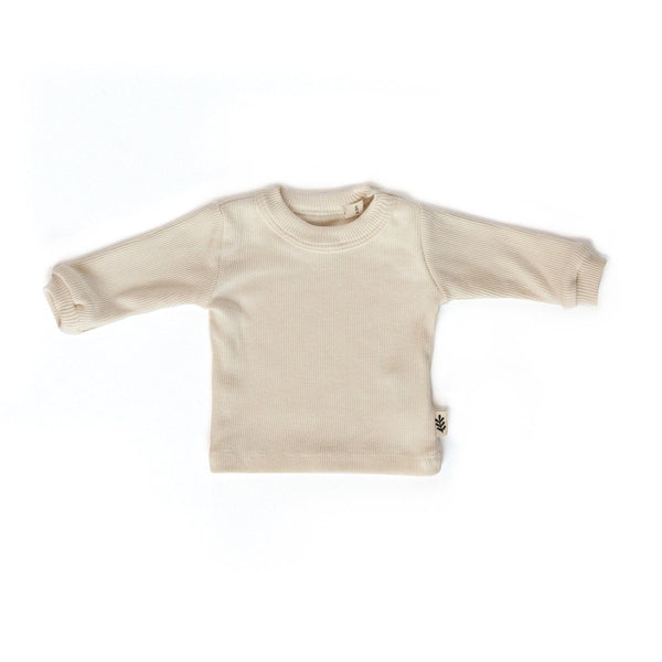 Les Petites Natures T-Shirt L/S ribbed t-shirt - Cream