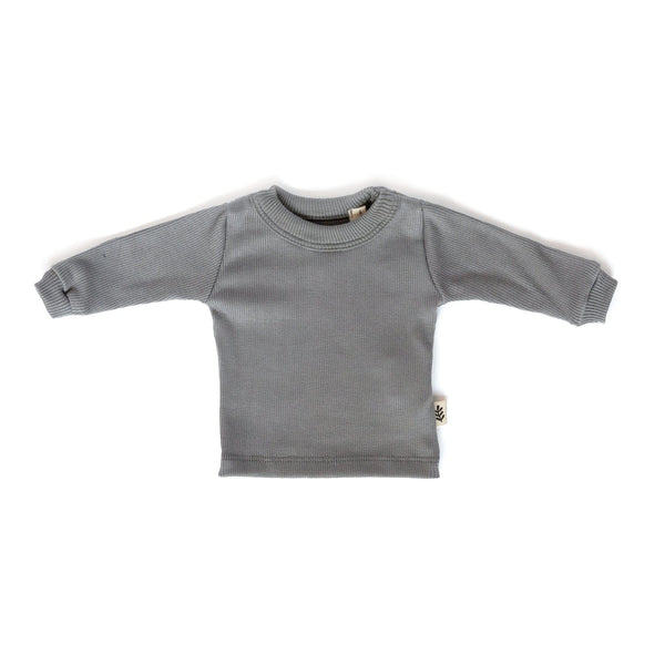 Les Petites Natures T-Shirt L/S ribbed t-shirt - Dover Gray
