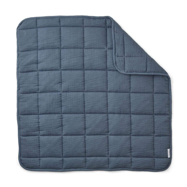 Liewood Blanket O/S Mette Quilted Blanket - Blue Wave