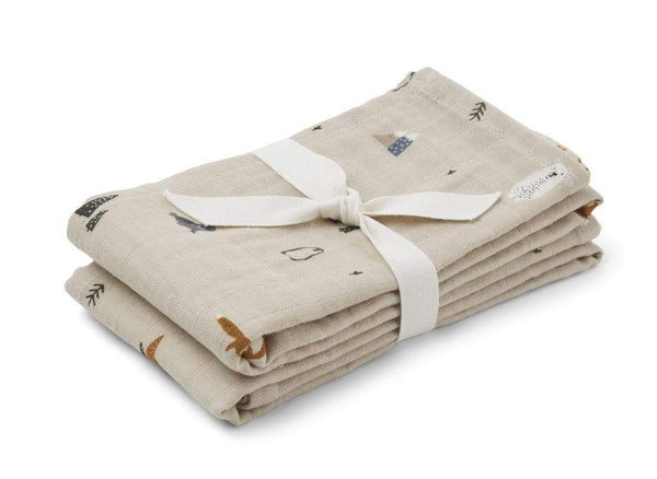 Liewood Blankets One Size Lewis Muslin Cloth 2 Pack - Arctic Mix