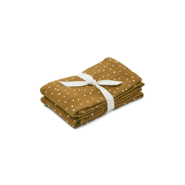 Liewood Blankets One Size Lewis Muslin Cloth 2 Pack - Confetti Olive