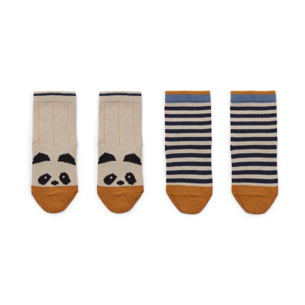 Liewood Socks Silas Cotton Socks 2 Pack - Panda/Stripe Ecru