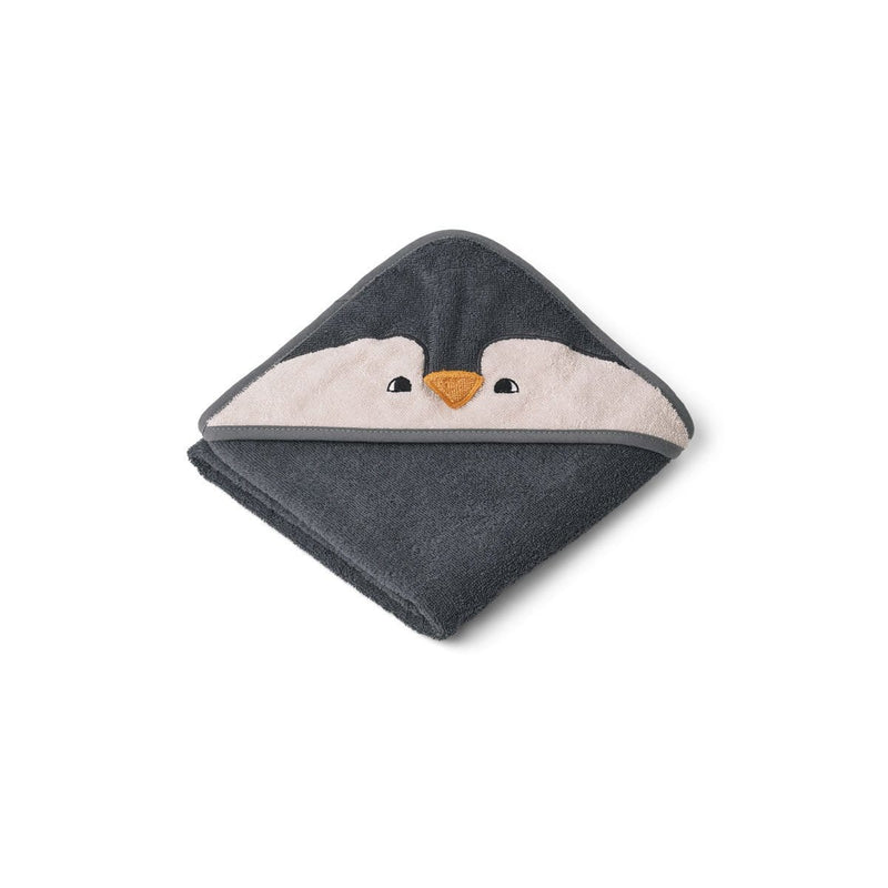 Liewood Towel Albert Hooded Baby Towel - Penguin Stone Grey