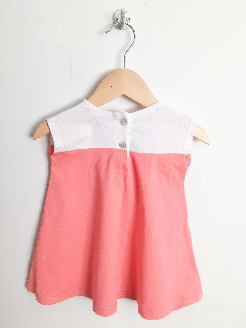 Lili Gaufrette Dresses + Skirts 9m / Gently Used Re-Cycle Coral and White Dress with Bloomers