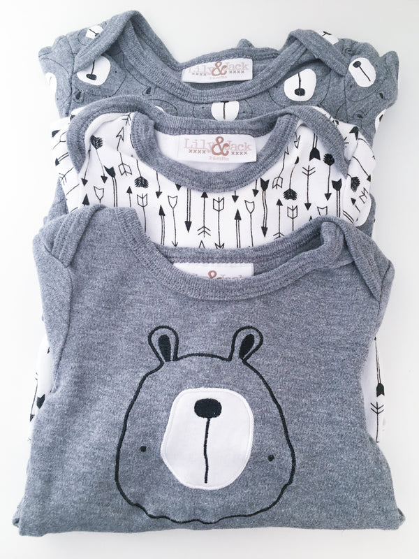 Lily & Jack Sets 3-6m / Gently Used Re-Cycle Three Piece Baby Bodysuit Set - Bears