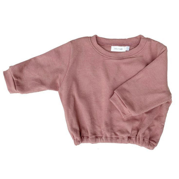 Little Maple Sweatshirt Waffle Pullover - Dusty Rose