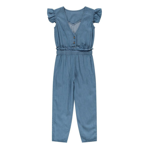 Louis Louise Rompers + Overalls 3y Margot Ruffled Chambray Denim Jumpsuit