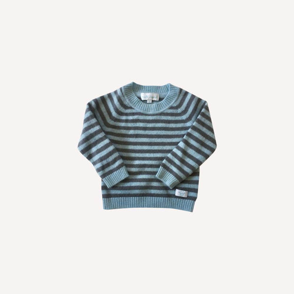 Marie Chantal Sweater 9-12m / Preloved Re-Cycle Striped Blue Cashmere Sweater