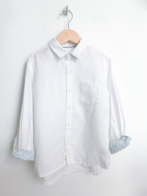 Massimo Dutti Shirts 4y / Gently Used Re-Cycle White Linen Button-Down Collared Shirt