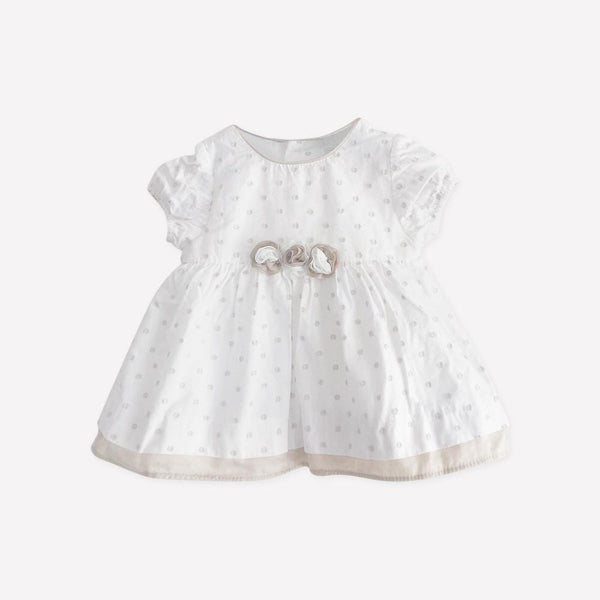 Mayoral Dress Newborn / Preloved Re-Cycle White Polka Dot Dress