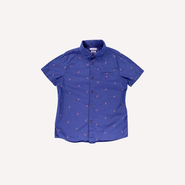 Mayoral Shirt 7y / Like New Re-Cycle Patterned Blue Shirt