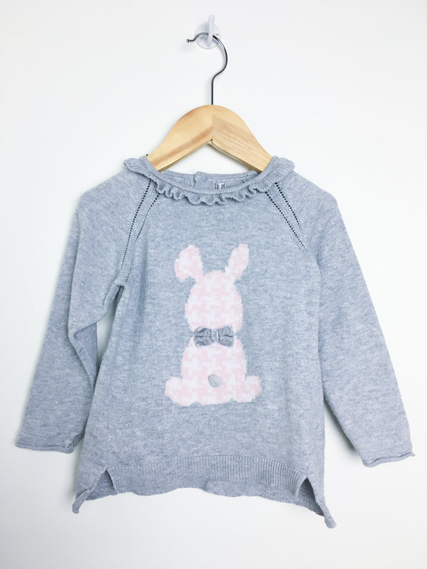 Mayoral Sweaters 18m / Gently Used Re-Cycle Grey Wool Blend Bunny Sweater with Velvet Bow