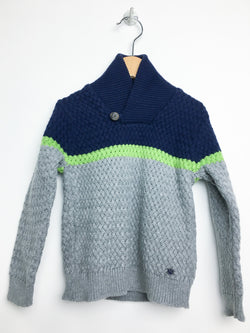 Mayoral Sweaters 3y / Gently Used Re-Cycle Cotton Blend Sweater with Wraparound Collar in Grey and Navy with Green Stripe