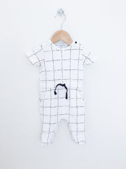 Miles Baby Rompers 3m / Gently Used Re-Cycle White Baby Romper with Black Windowpane Print