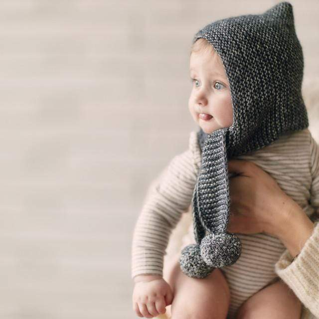 Mille Baby tuque 1-2y Pompom Hat with Scarf - Graphite