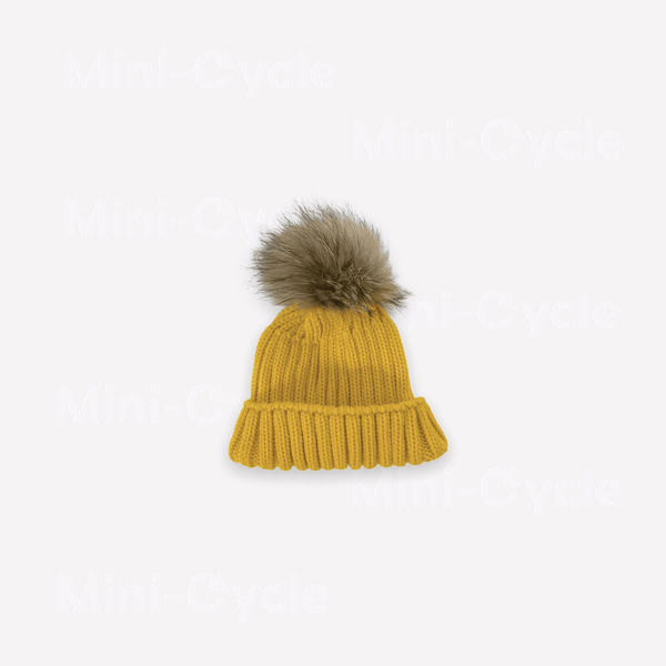 Mini-Cycle Beanie 1-3y / Like New Re-Cycle Solid Yellow PomPom Beanie