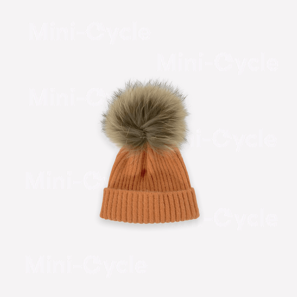 Mini-Cycle Beanie 4-6y / Like New Re-Cycle Dark Peach PomPom Beanie