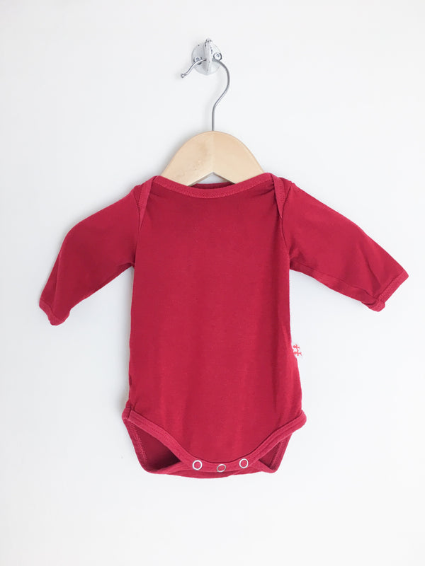 Mini-Cycle Bodysuit NB / Gently Used Re-Cycle Red Baby Bodysuit