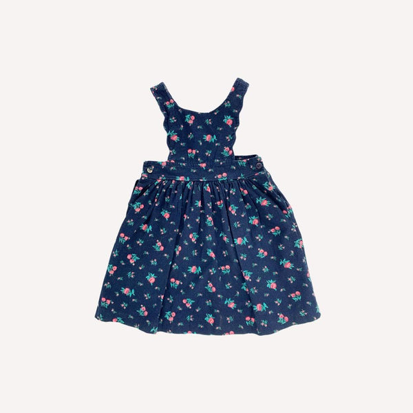 Mini-Cycle Dress 2-3y / Preloved Re-Cycle Floral Blue Pinafore Dress