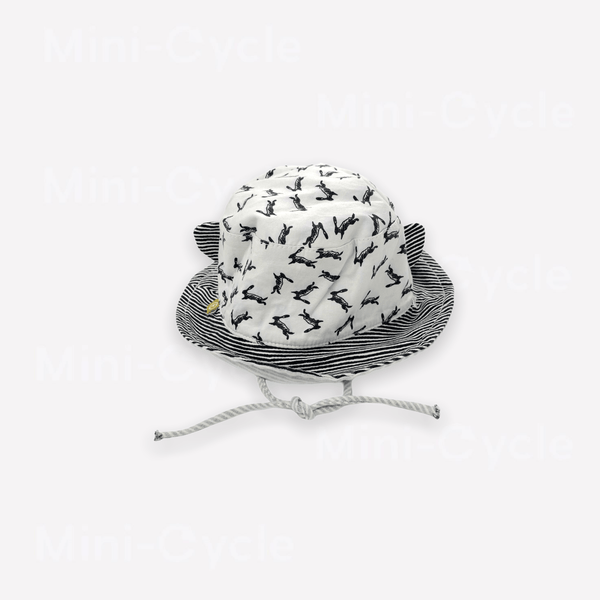 Mini-Cycle Summer Hat 6-12m / Preloved Re-Cycle Patterned White Summer Hat