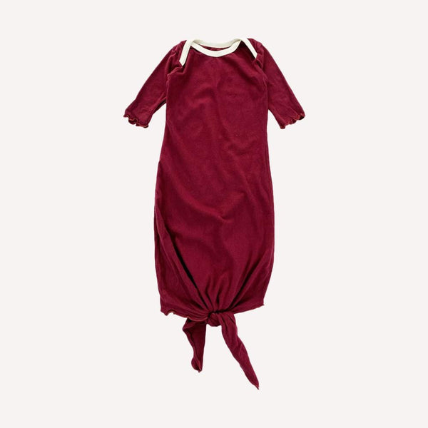 Mini Mioche Gown OS / Like New Re-Cycle Solid Maroon Knotted Gown