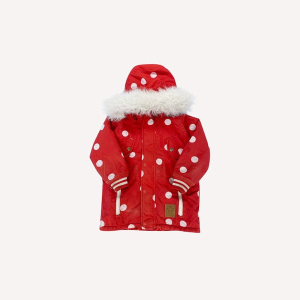 Mini Rodini Winter Coat 4-5y / Preloved Re-Cycle Polka Dot Red Winter Coat