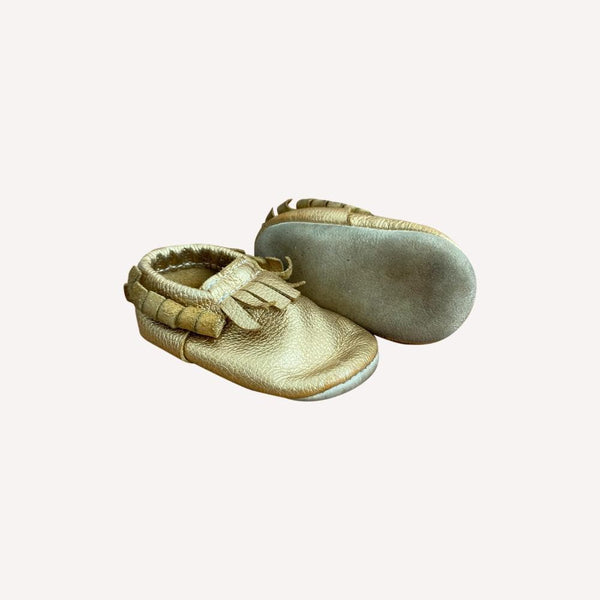 Minimoc Moccasin US 4 / Preloved Re-Cycle Metallic Gold Moccasin