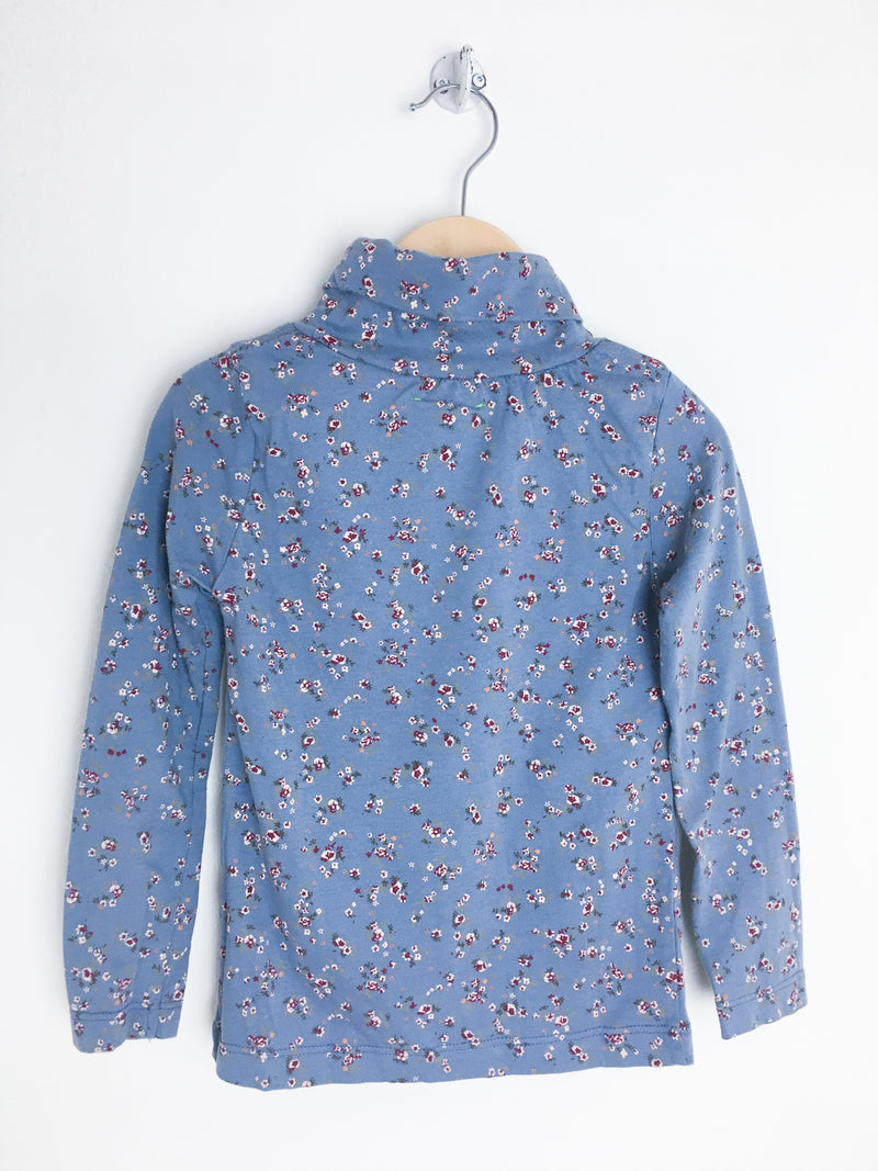 Monoprix Tops + Bodysuits 2T / Gently Used Re-Cycle Blue Floral Turtleneck Top