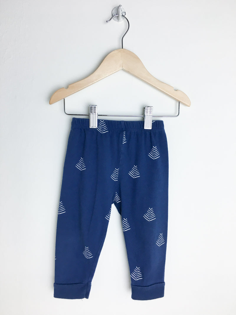 Munster Kids Pants 12-18m / Gently Used Re-Cycle Blue Baby Joggers with White Pattern