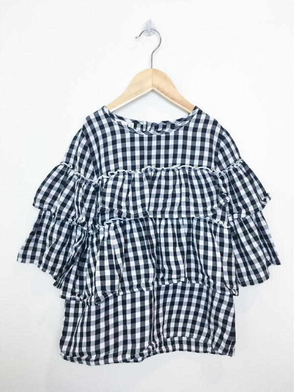 Name It Blouse 7-8y / Like New Re-Cycle Black Checkered Layered Blouse