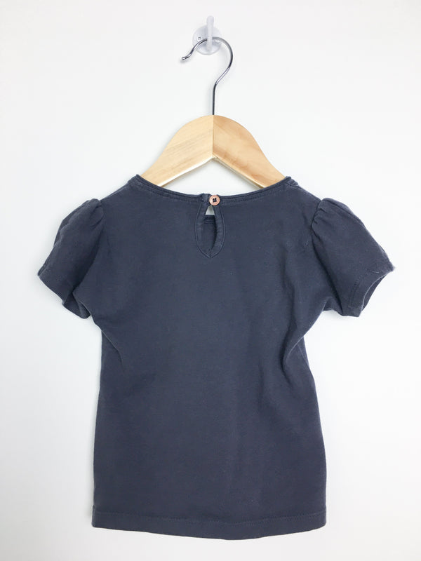 Noppies T-Shirt 9m / Gently Used Re-Cycle Navy T-Shirt with Sequin Butterfly