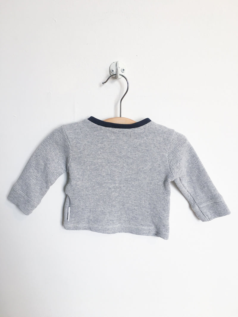 Noppies Tops + Bodysuits 0-3m / Gently Used Re-Cycle Grey Long-Sleeve Waffle Tee