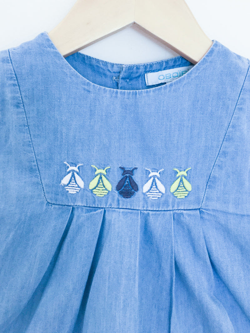 Obaibi Dress 6m / Gently Used Re-Cycle Blue Denim Baby Dress - Bees