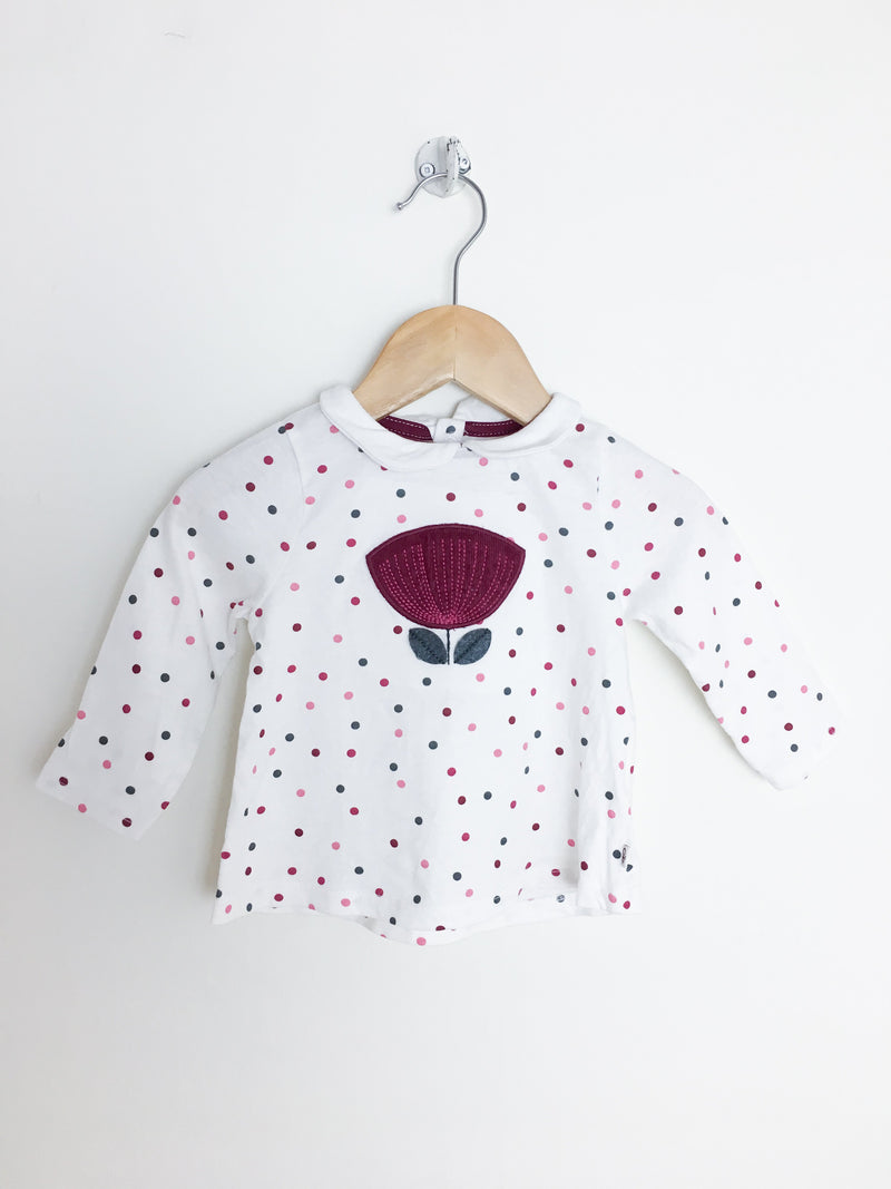 Obaibi T-Shirt 6m / Gently Used Re-Cycle Long-Sleeve Baby Shirt with Flower Patch
