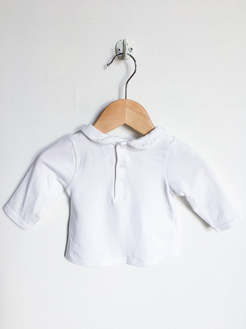 Obaibi Tops + Bodysuits 3m / Gently Used Re-Cycle Long Sleeved White Baby T-Shirt with Peter Pan Collar