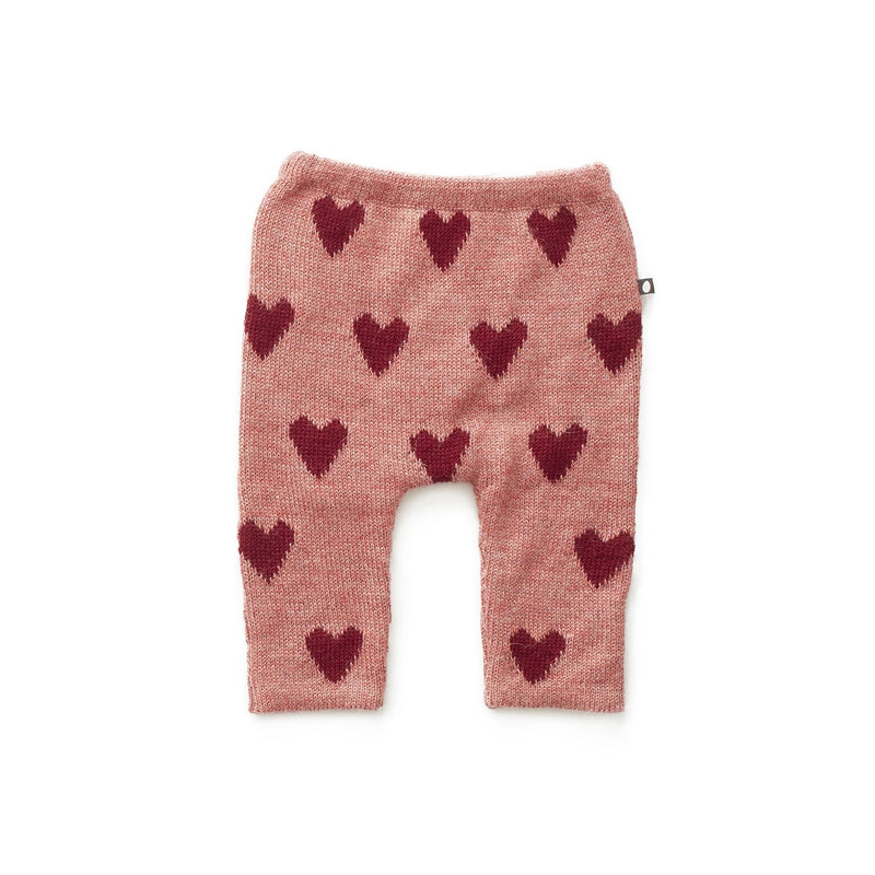 Oeuf Bottoms 12m Hammer Pants - Rose/Red Hearts