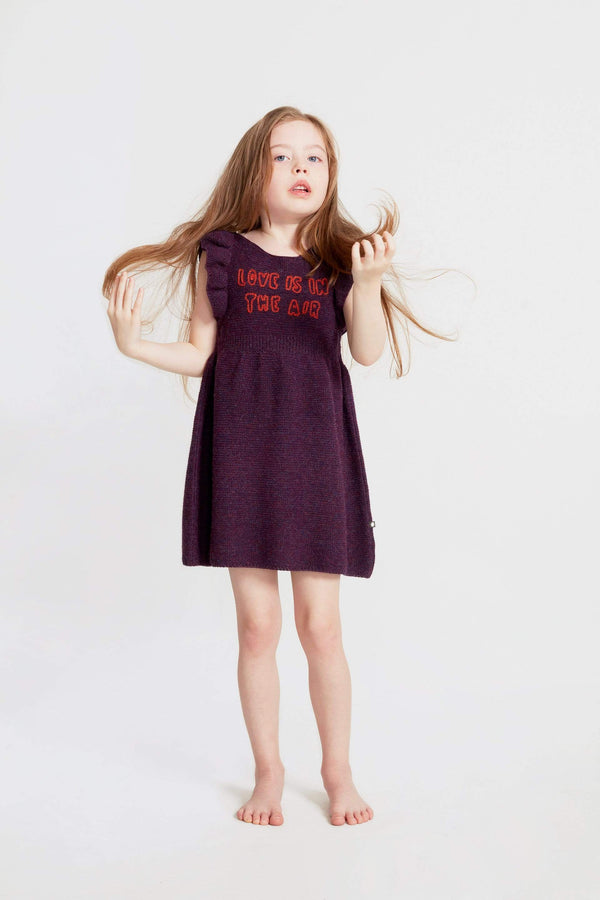 Oeuf Dress Ruffle Sleeve Dress - Mauve/Love is in the Air
