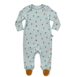 Oeuf Footed Footie Jumper - Mushroom - Sky Grey