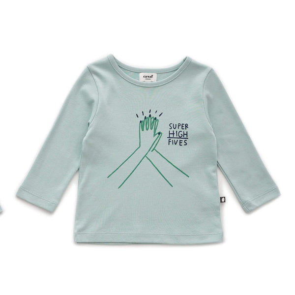 Oeuf Ls Tee Ls Tee - Super High Fives - Sky Grey