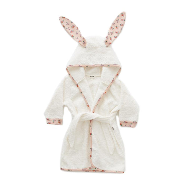 Oeuf Robe Hooded Bunny Robe - Light Pink/Flower