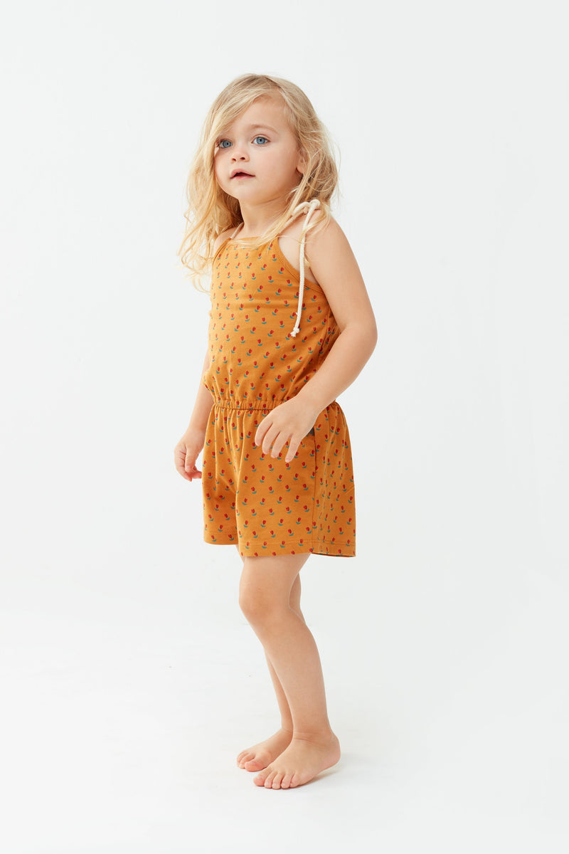 Oeuf Rompers + Overalls 2y Jersey Playsuit - Ochre/Tulips