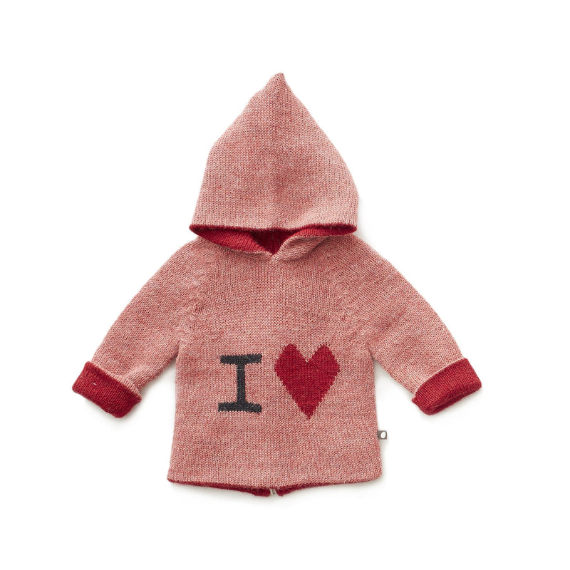 Oeuf Sweaters 12m I Heart Hoodie - Rose/Multi
