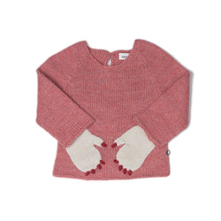 Oeuf Sweaters 18m Monster Hoodie - Rose/Red
